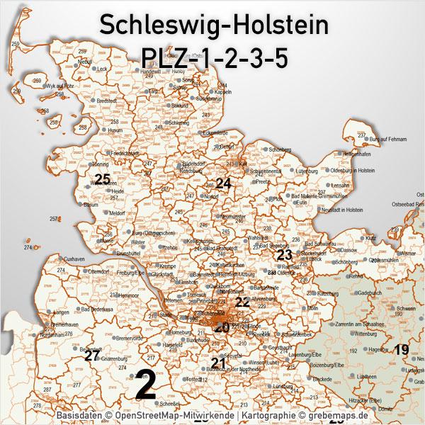PowerPoint-Karte Schleswig-Holstein Postleitzahlen 5-stellig 3-stellig 2-stellig 1- stellig PLZ-5-3-2-1 Postleitzahlenkarte Schleswig-Holstein
