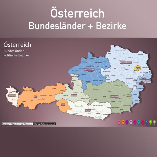 PowerPoint-Karte Österreich Austria Bundesländer Bezirke Karte Österreich Karte Austria Bezirke PowerPoint