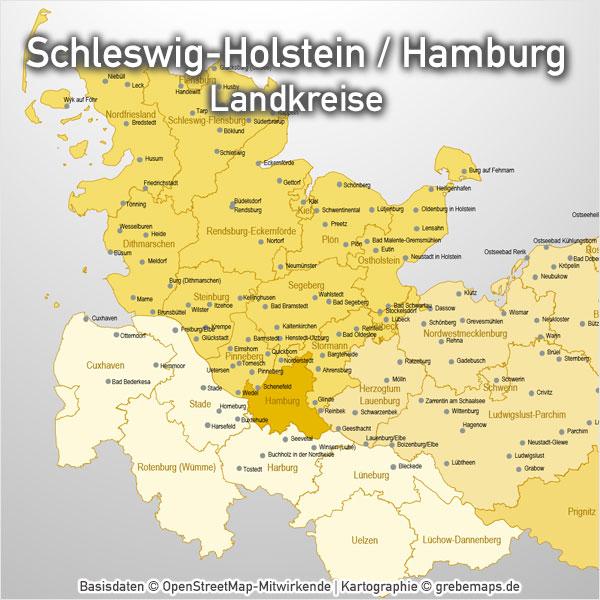 PowerPoint-Karte Schleswig-Holstein Hamburg Landkreise Karte Schleswig-Holstein Landkreise