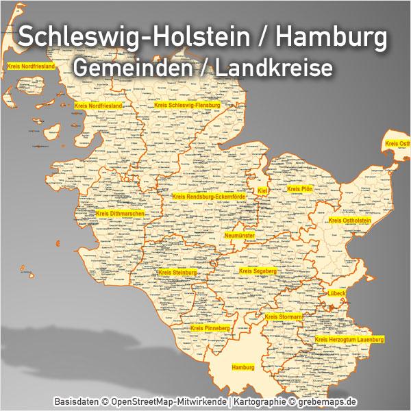 PowerPoint-Karte Schleswig-Holstein Hamburg Gemeinden Landkreise Karte Schleswig-Holstein