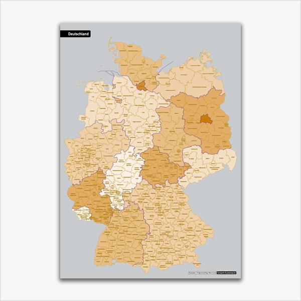 Karte Deutschland Landkreise Stadtkreise Bundesländer Vektorkarte