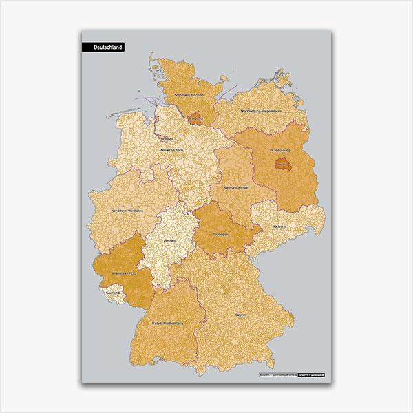 Karte Deutschland Gemeinden Bundesländer ohne Gemeindenamen Vektorkarte