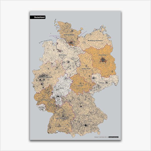 Karte Deutschland Postleitzahlen PLZ-5 Postleitzahlen 5-stellig Bundesländer, ausgewählte Orte Vektorkarte