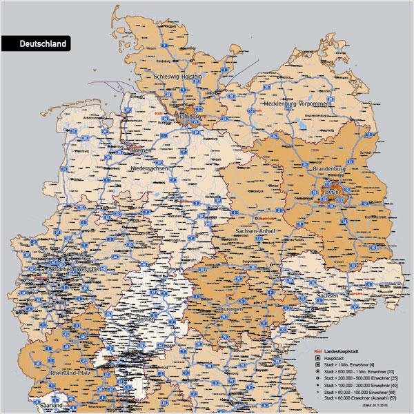 Karte Deutschland Autobahnen Städte Gewässer Bundesländer Vektorkarte
