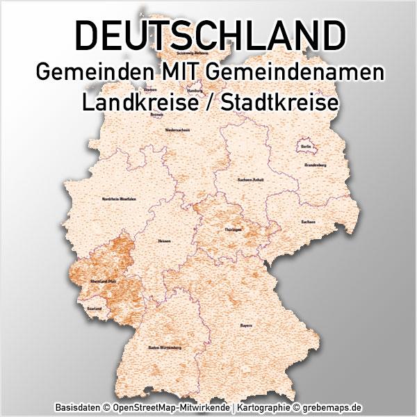 Karte Deutschland Gemeinden MIT Gemeindenamen Landkreise Vektorkarte