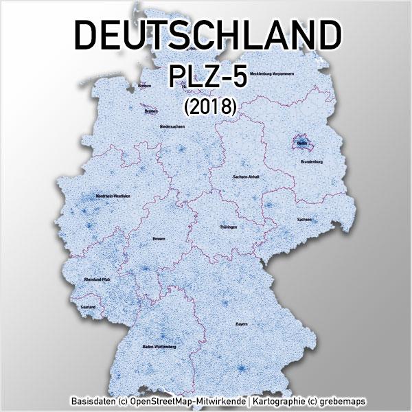 Karte Deutschland Postleitzahlen 5-stellig PLZ-5 Landkreise Stadtkreise Ortsnamen Vektorkarte