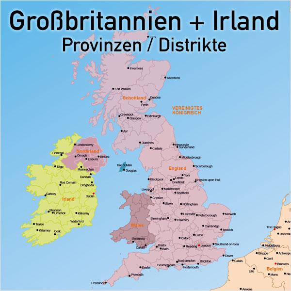 Karte Großbritannien Irland England Schottland Wales Nordirland Prozinzen Distrikte Vektorkarte