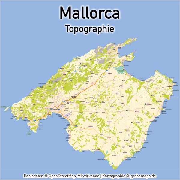 Karte Mallorca Topographie Landkarte Mallorca Vektorkarte