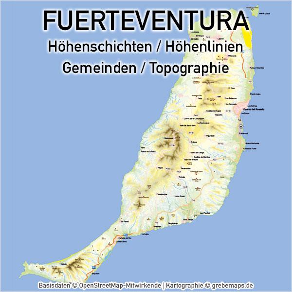 Karte Fuerteventura, Vektorkarte Fuerteventura, Landkarte Fuerteventura, Inselkarte Fuerteventura