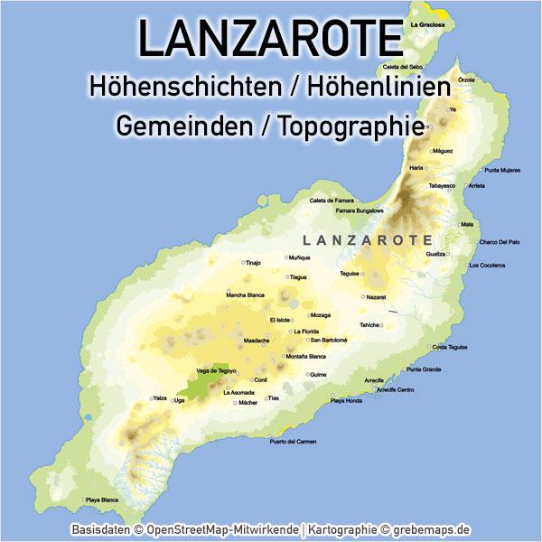 Karte Lanzarote, Vektorkarte Lanzarote, Landkarte Lanzarote