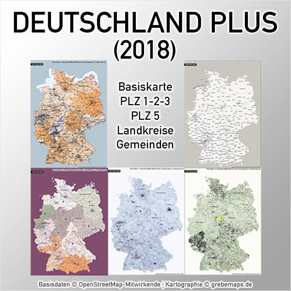 Karte Deutschland PLZ Postleitzahlen Landkreise Gemeinden Autobahnen Bundesländer Vektorkarte