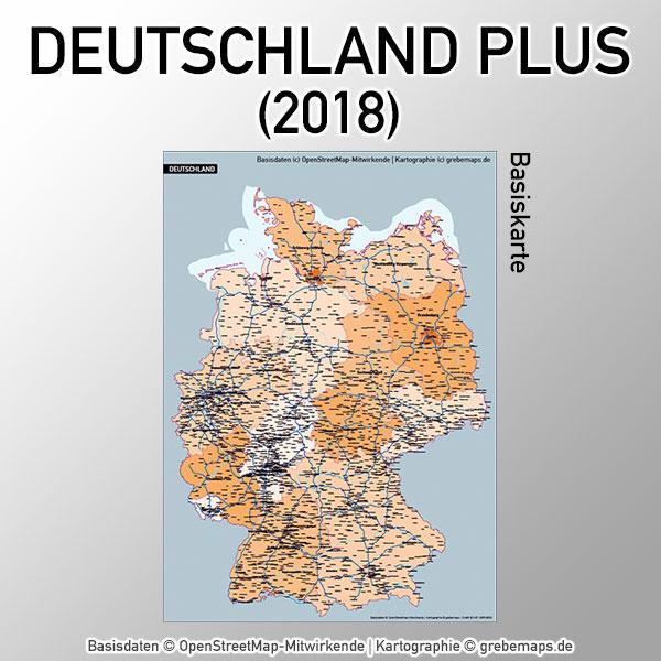 Karte Deutschland Basiskarte Vektorkarte