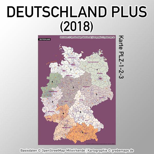Karte Deutschland Postleitzahlen PLZ 1-2-3 Postleitzahlen 1-stellig 2-stellig 3-stellig Vektorkarte