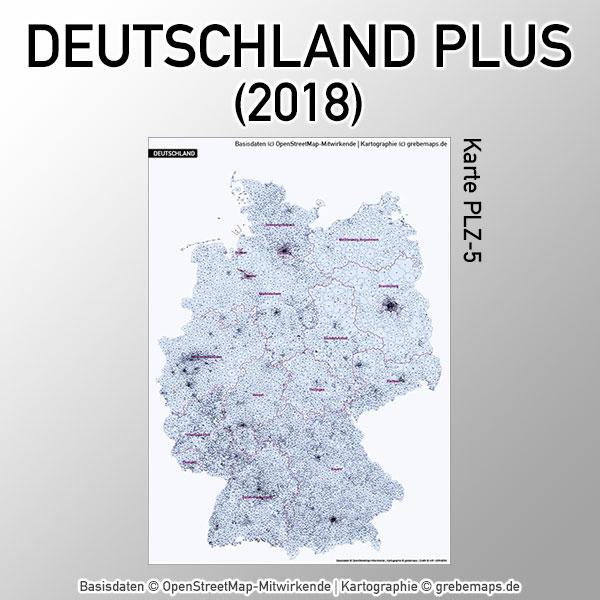 Karte Deutschland Postleitzahlen 5-stellig PLZ-5 mit Ortsnamen Vektorkarte