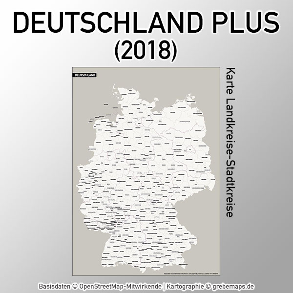 Karte Deutschland Landkreise Stadtkreise Vektorkarte