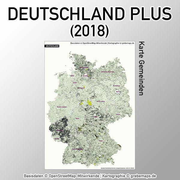 Karte Deutschland Gemeinden Vektorkarte