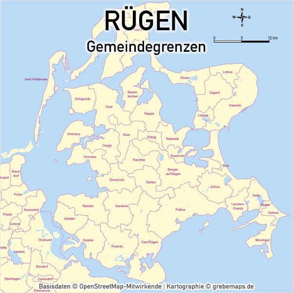 Karte Rügen Gemeinden, Vektorkarte Rügen Gemeinden, Inselkarte Rügen