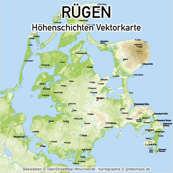 Karte Rügen Höhenschichten, Vektorkarte Rügen Höhenschichten
