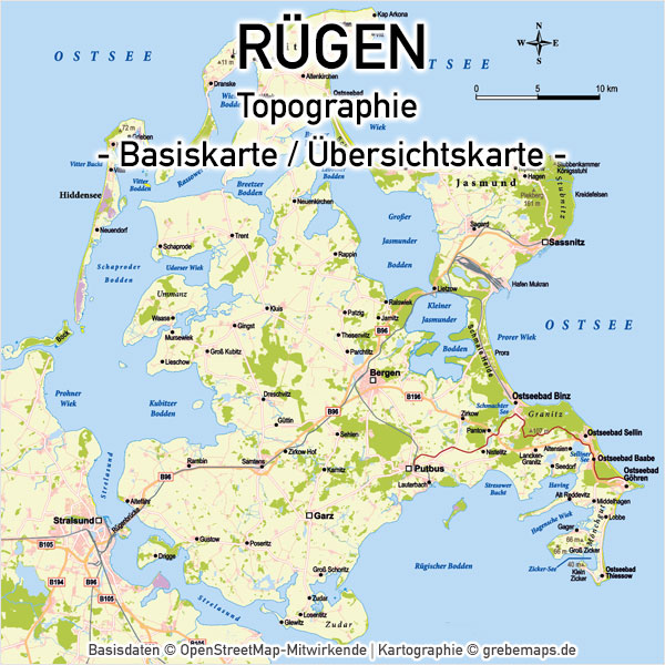 Karte Rügen Vektorkarte Basiskarte, Karte Rügen Vektor, Vektorkarte Rügen, Karte Rügen für Print, Karte Rügen für Druck, Inselkarte Rügen, Landkarte Rügen