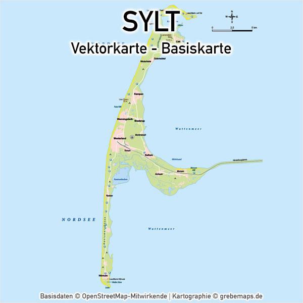 Karte Sylt Basiskarte Vektor Übersichtskarte Inselkarte Topographie