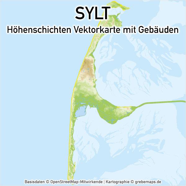Karte Sylt Höhenschichten Landkarte Inselkarte Basiskarte Übersichtskarte