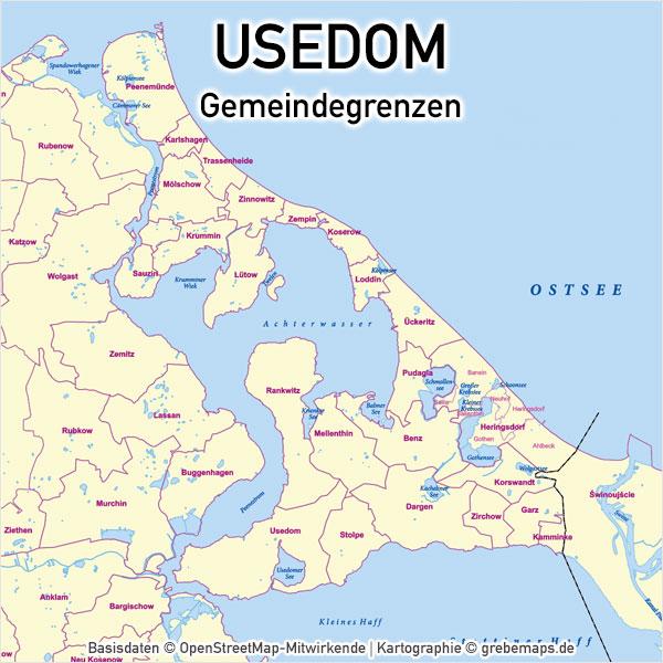 Karte Usedom Gemeindegrenzen Gemeinden Inselkarte Vektorkarte