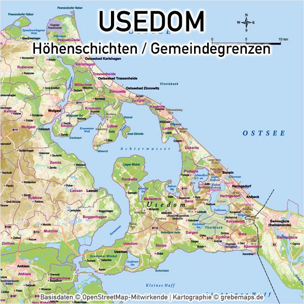 Karte Usedom Höhenschichten Gemeindegrenzen Gemeinden Vektorkarte Inselkarte Übersichtskarte Basiskarte