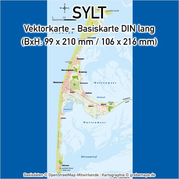 Karte Sylt Landkarte Inselkarte Übersichtskarte Basiskarte Vektorkarte