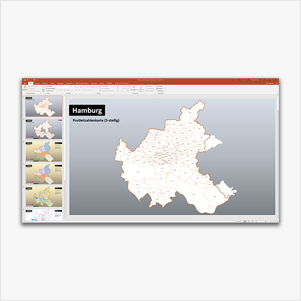 PowerPoint-Karte Hamburg Postleitzahlen 5-stellig 2-stellig PLZ-5 PLZ-2, mit schönen Bitmap-Basiskarten Karte Hamburg