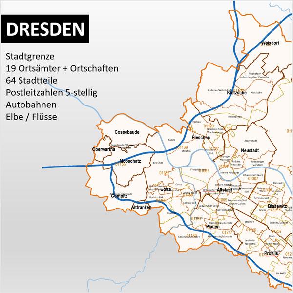 PowerPoint-Karte Dresden Postleitzahlen PLZ-5 Stadtteile Stadtbezirke (Ortsämter + Ortschaften) Karte Desden
