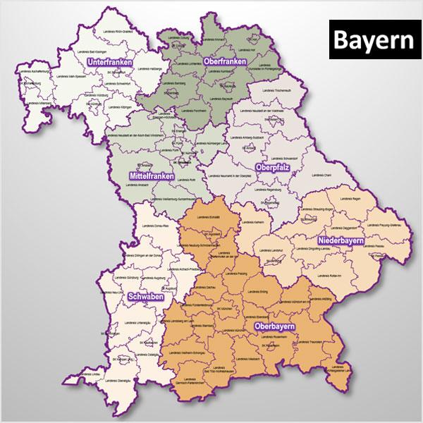 PowerPoint-Karte Bayern Landkreise Gemeinden Regierungsbezirke, mit schönen Bitmap-Gemeindenkarten PowerPoint-Landkarte Karte für PowerPoint