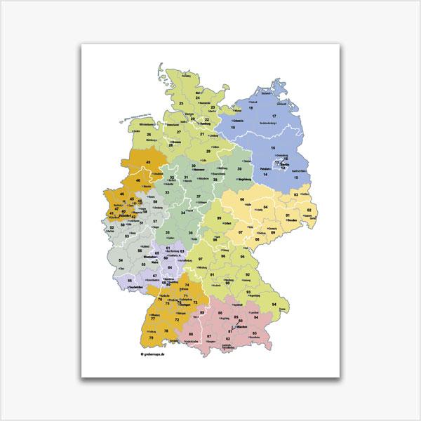 Karte Deutschland Postleitzahlenkarte 2-stellig PLZ-2 Vektorkarte