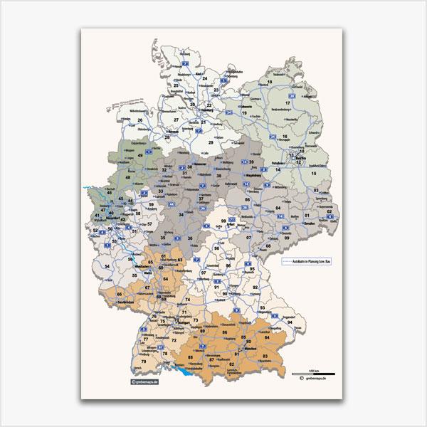 Karte Deutschland Postleitzahlenkarte 2-stellig PLZ-2 mit Autobahnen Bundesländer Vektorkarte
