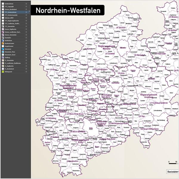 Karte Nordrhein-Westfalen NRW Landkreise Regierungsbezirke Gemeinden Autobahnen Vektorkarte