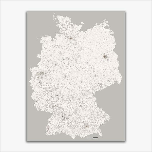 Karte Deutschland Postleitzahlen PLZ-5 abstrahiert Vektorkarte