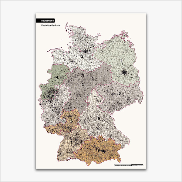 Karte Deutschland Postleitzahlen 1-stellig 2-stellig 3-stellig 5-stellig PLZ-1-2-3-5 5-stellig Vektorkarte