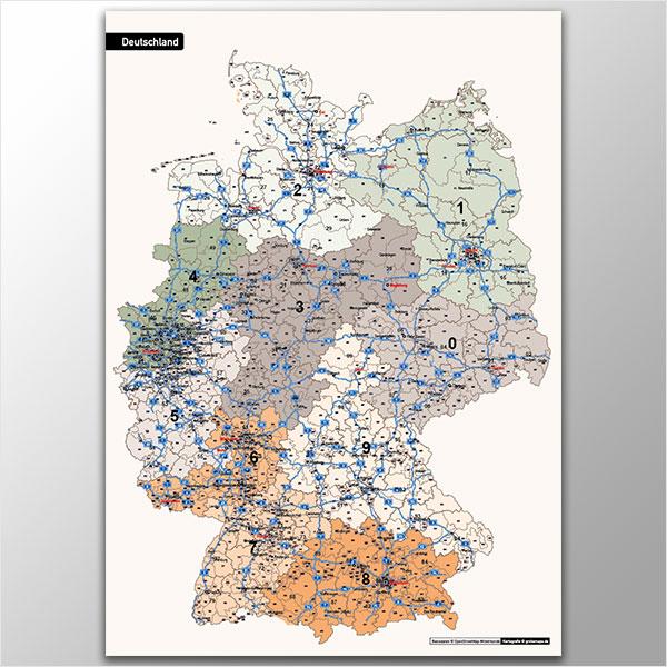 Karte Deutschland Postleitzahlenkarte 3-stellig PLZ-1-2-3 mit Autobahnen Vektorkarte