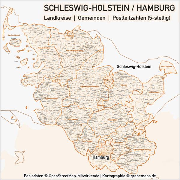 Karte Schleswig-Holstein / Hamburg Landkreise Gemeinden PLZ-5 Postleitzahlen 5-stellig Vektorkarte