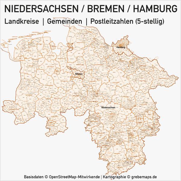Karte Niedersachsen - Bremen - Hamburg Bundesland Landkreise Gemeinden PLZ-5 (Postleitzahlen 5-stellig) Vektorkarte