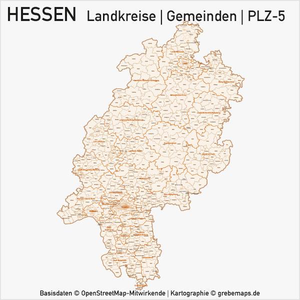 Karte Hessen Bundesland Landkreise Gemeinden PLZ-5 Postleitzahlen 5-stellig Vektorkarte