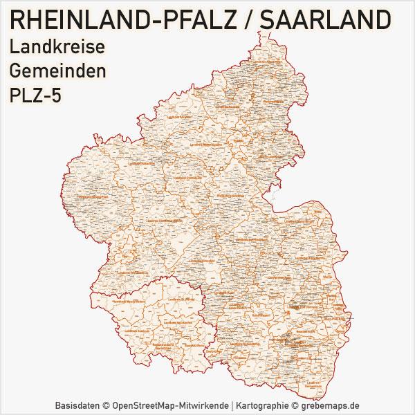 Karte Rheinland-Pfalz Landkreise Gemeinen PLZ-5 Postleitzahlen 5-stellig Vektorkarte