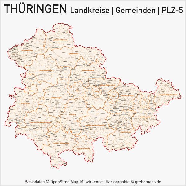 Karte Thüringen Landkreise Gemeinden PLZ-5 Postleitzahlen 5-stellig Vektorkarte