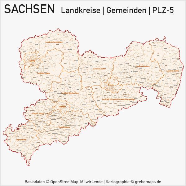 Karte Sachsen Landkreise Gemeinden PLZ-5 Postleitzahlen 5-stellig Vektorkarte