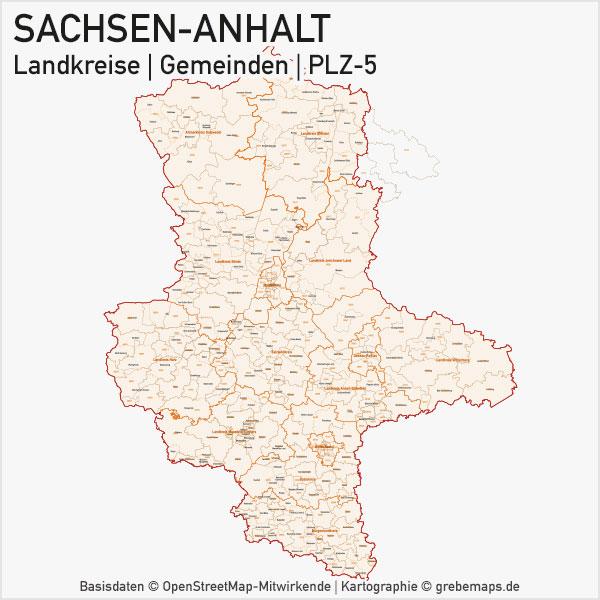 Karte Sachsen-Anhalt Landkreise Gemeinden PLZ-5 Postleitzahlen 5-stellig Vektorkarte