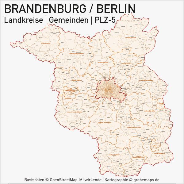 Karte Brandenburg - Berlin Bundesland Landkreise Gemeinden PLZ-5 (Postleitzahlen 5-stellig) Vektorkarte