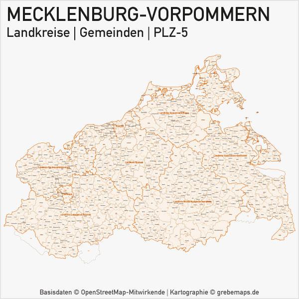 Karte Mecklenburg-Vorpommern Bundesland Landkreise Gemeinden PLZ-5 (Postleitzahlen 5-stellig) Vektorkarte