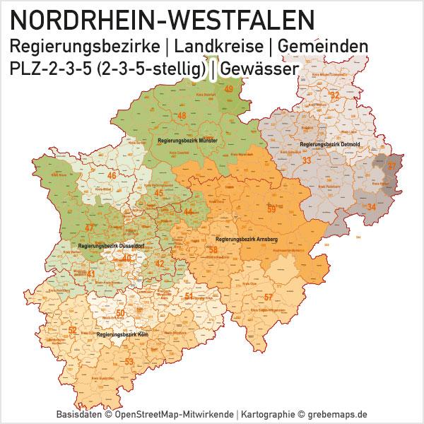 Karte Nordrhein-Westfalen NRW Bundesland Landkreise Gemeinden PLZ-2-3-5 (Postleitzahlen 2-stellig, 3-stellig, 5-stellig) Vektorkarte