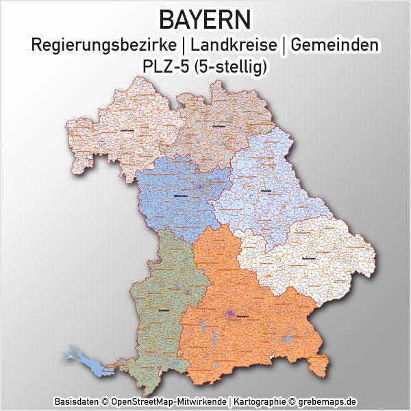 Karte Bayern Gemeinden Landkreise Regierungsbezirke PLZ-5 Postleitzahlen 5-stellig Vektorkarte