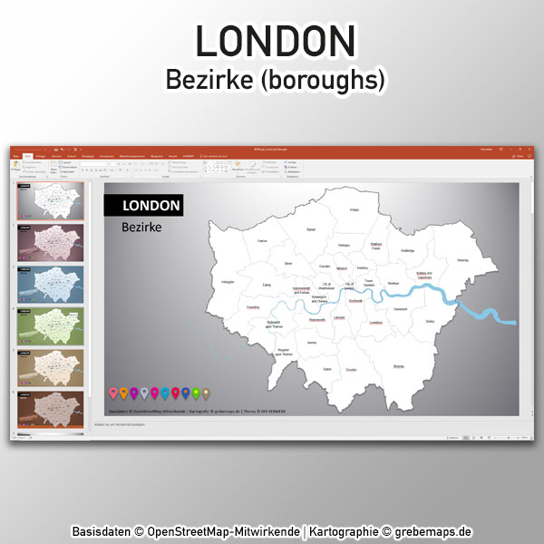 PowerPoint-Karte London Bezirke Boroughs Karte London PowerPoint