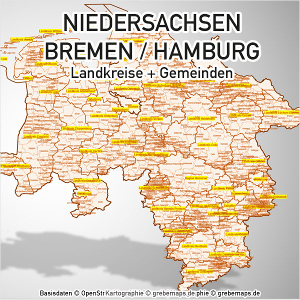 PowerPoint-Karte Niedersachsen Bremen Hamburg Landkreise Gemeinden Karte Niedersachsen PowerPoint